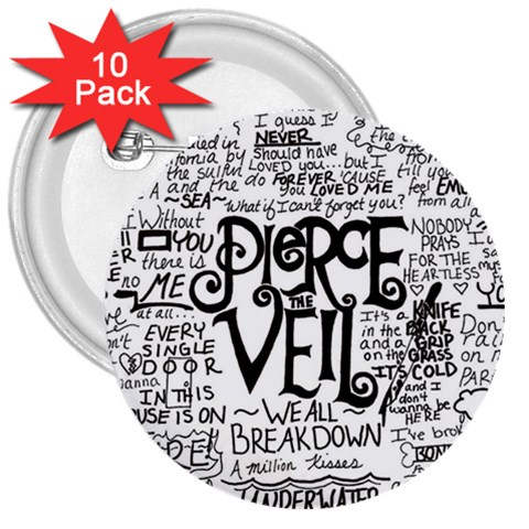 Pierce The Veil Music Band Group Fabric Art Cloth Poster 3  Buttons (10 pack)