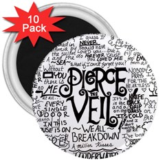 Pierce The Veil Music Band Group Fabric Art Cloth Poster 3  Magnets (10 Pack)