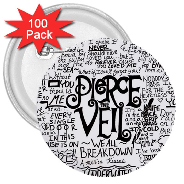 Pierce The Veil Music Band Group Fabric Art Cloth Poster 3  Buttons (100 pack)