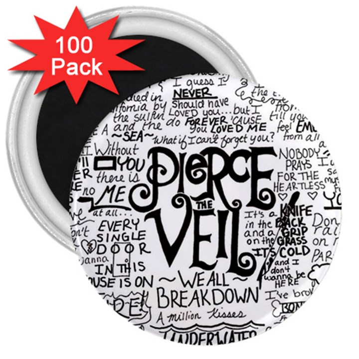 Pierce The Veil Music Band Group Fabric Art Cloth Poster 3  Magnets (100 pack)