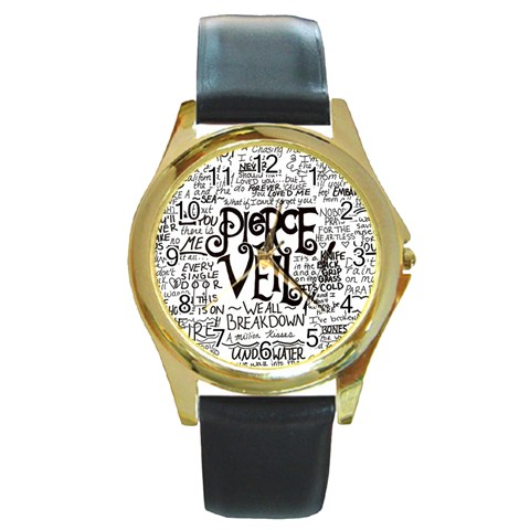 Pierce The Veil Music Band Group Fabric Art Cloth Poster Round Gold Metal Watch