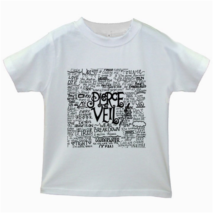 Pierce The Veil Music Band Group Fabric Art Cloth Poster Kids White T-Shirts