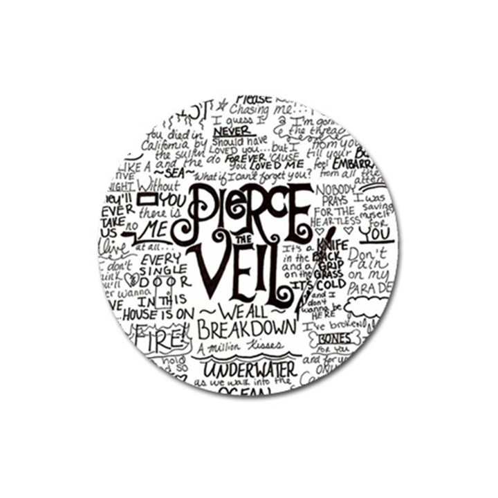 Pierce The Veil Music Band Group Fabric Art Cloth Poster Magnet 3  (Round)