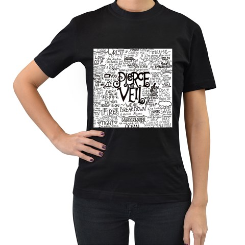 Pierce The Veil Music Band Group Fabric Art Cloth Poster Women s T-Shirt (Black) (Two Sided)