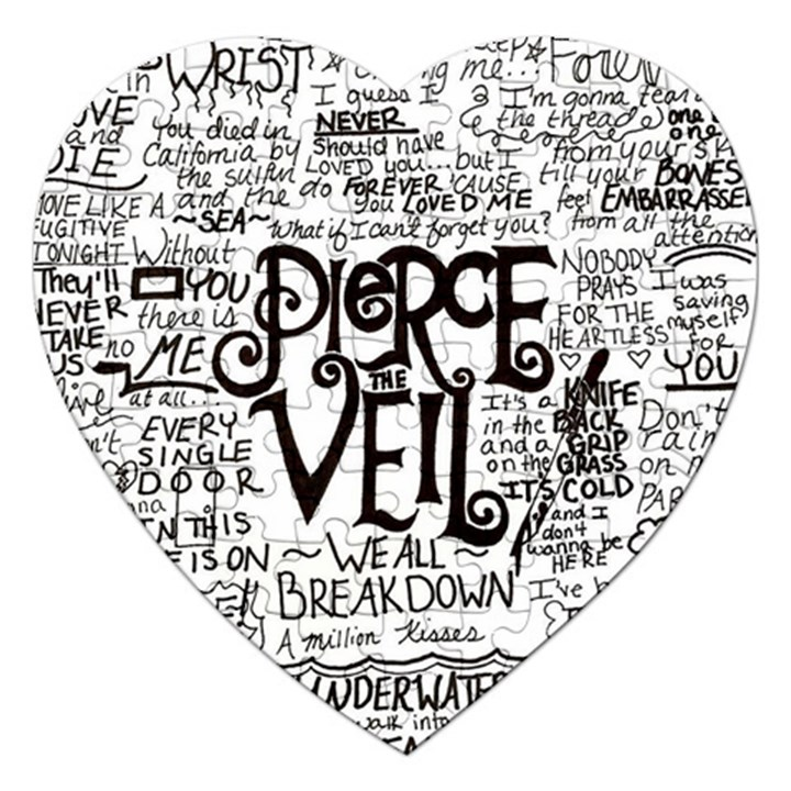 Pierce The Veil Music Band Group Fabric Art Cloth Poster Jigsaw Puzzle (Heart)