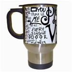 Pierce The Veil Music Band Group Fabric Art Cloth Poster Travel Mugs (White) Left