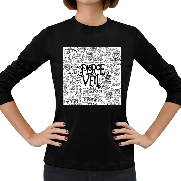 Pierce The Veil Music Band Group Fabric Art Cloth Poster Women s Long Sleeve Dark T-Shirts