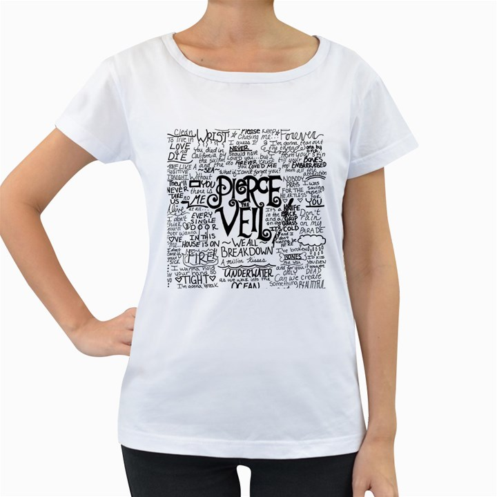 Pierce The Veil Music Band Group Fabric Art Cloth Poster Women s Loose-Fit T-Shirt (White)