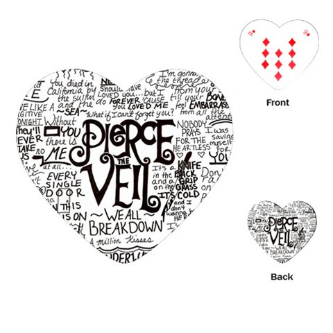 Pierce The Veil Music Band Group Fabric Art Cloth Poster Playing Cards (Heart)
