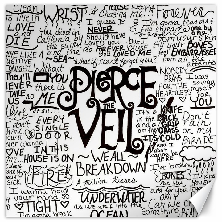 Pierce The Veil Music Band Group Fabric Art Cloth Poster Canvas 12  x 12