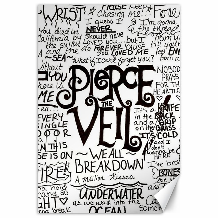 Pierce The Veil Music Band Group Fabric Art Cloth Poster Canvas 12  x 18