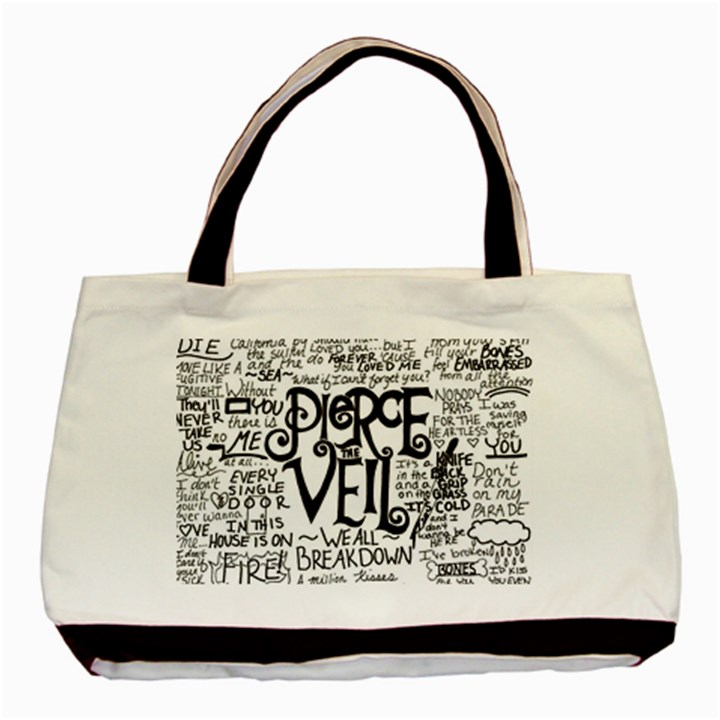 Pierce The Veil Music Band Group Fabric Art Cloth Poster Basic Tote Bag (Two Sides)