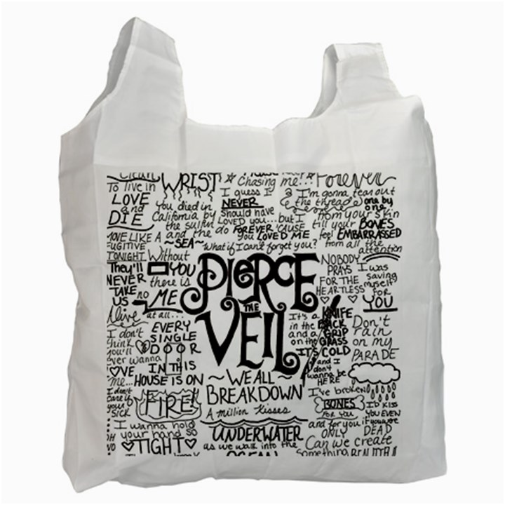 Pierce The Veil Music Band Group Fabric Art Cloth Poster Recycle Bag (Two Side)