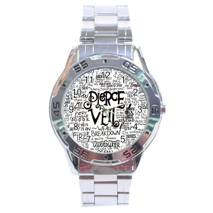 Pierce The Veil Music Band Group Fabric Art Cloth Poster Stainless Steel Analogue Watch