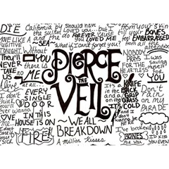 Pierce The Veil Music Band Group Fabric Art Cloth Poster Birthday Cake 3D Greeting Card (7x5)