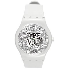 Pierce The Veil Music Band Group Fabric Art Cloth Poster Round Plastic Sport Watch (M)