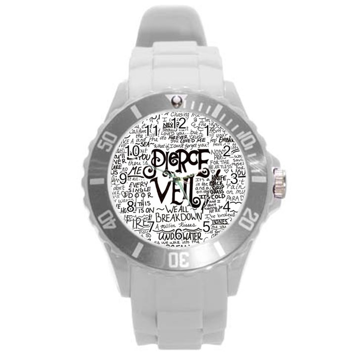 Pierce The Veil Music Band Group Fabric Art Cloth Poster Round Plastic Sport Watch (L)