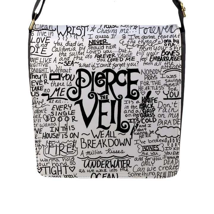 Pierce The Veil Music Band Group Fabric Art Cloth Poster Flap Messenger Bag (L)