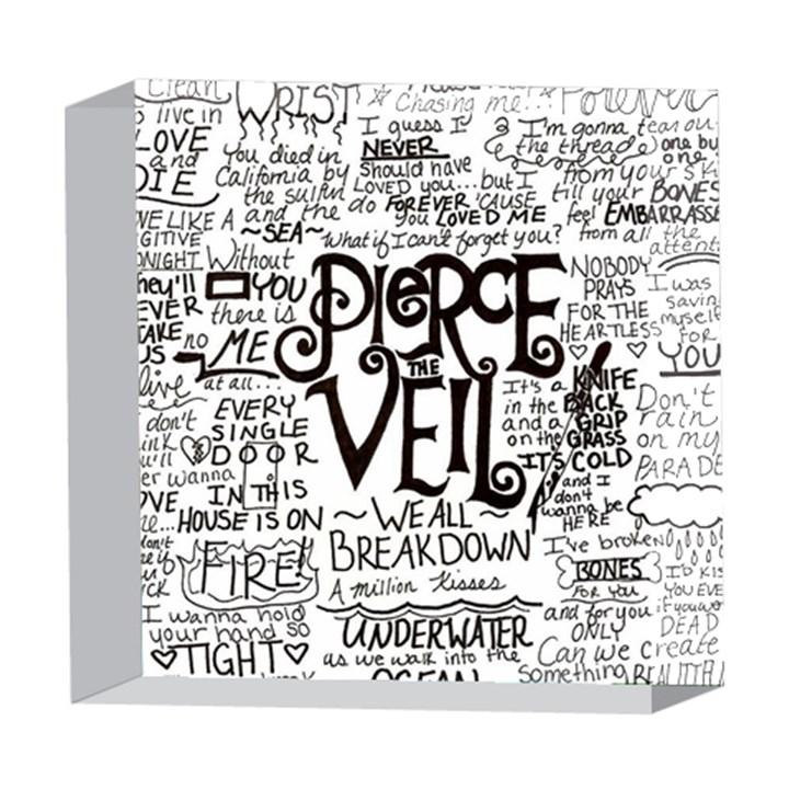 Pierce The Veil Music Band Group Fabric Art Cloth Poster 5  x 5  Acrylic Photo Blocks
