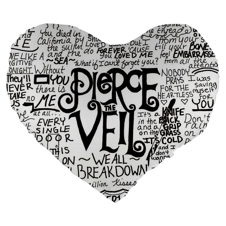 Pierce The Veil Music Band Group Fabric Art Cloth Poster Large 19  Premium Flano Heart Shape Cushions