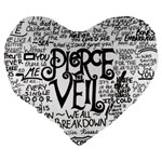 Pierce The Veil Music Band Group Fabric Art Cloth Poster Large 19  Premium Flano Heart Shape Cushions Back