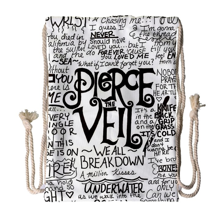 Pierce The Veil Music Band Group Fabric Art Cloth Poster Drawstring Bag (Large)