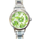 Fern Leaves Round Italian Charm Watch Front
