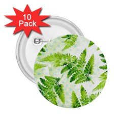 Fern Leaves 2 25  Buttons (10 Pack)
