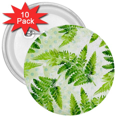 Fern Leaves 3  Buttons (10 pack)