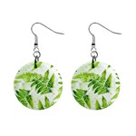 Fern Leaves Mini Button Earrings Front