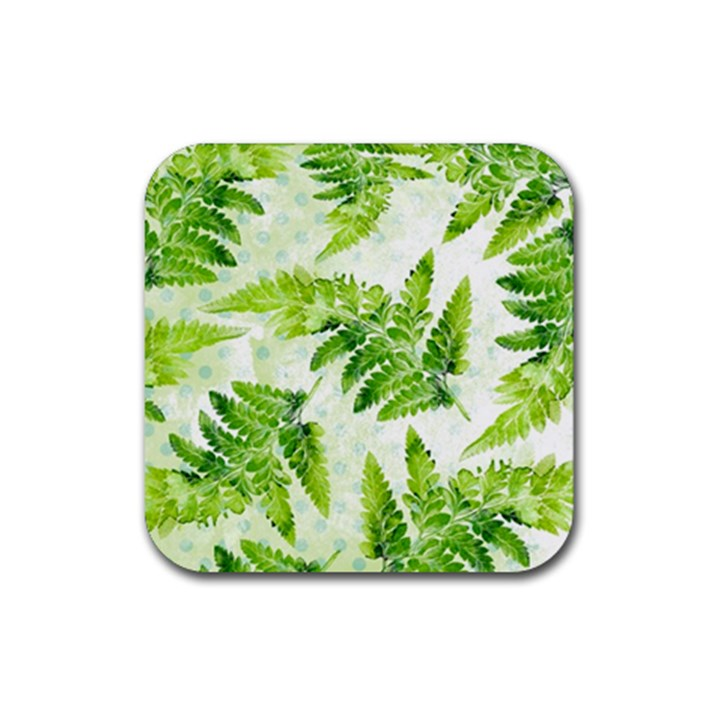 Fern Leaves Rubber Coaster (Square)