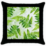Fern Leaves Throw Pillow Case (Black) Front