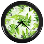 Fern Leaves Wall Clocks (Black) Front