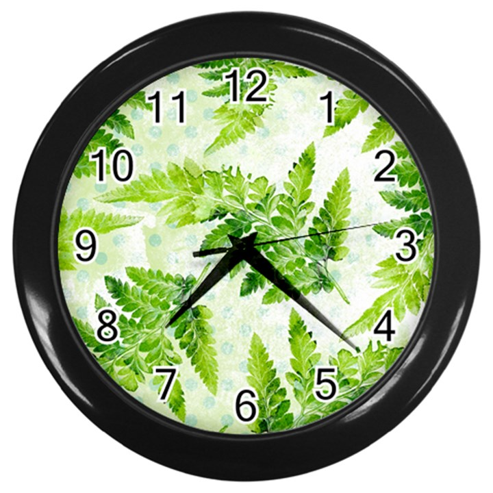 Fern Leaves Wall Clocks (Black)