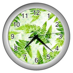 Fern Leaves Wall Clocks (silver)