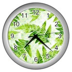 Fern Leaves Wall Clocks (Silver)  Front