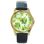 Fern Leaves Round Gold Metal Watch Front