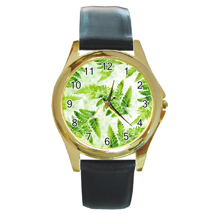 Fern Leaves Round Gold Metal Watch