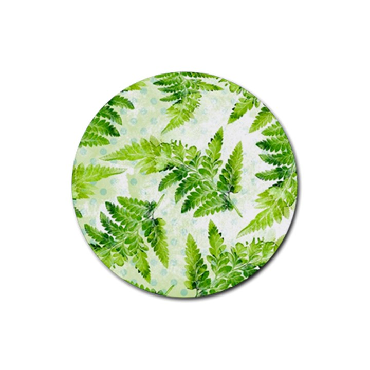 Fern Leaves Rubber Coaster (Round)