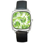 Fern Leaves Square Metal Watch Front