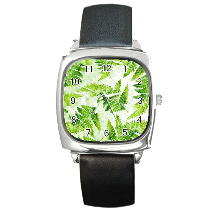 Fern Leaves Square Metal Watch