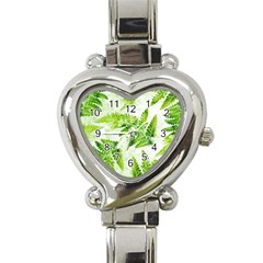 Fern Leaves Heart Italian Charm Watch