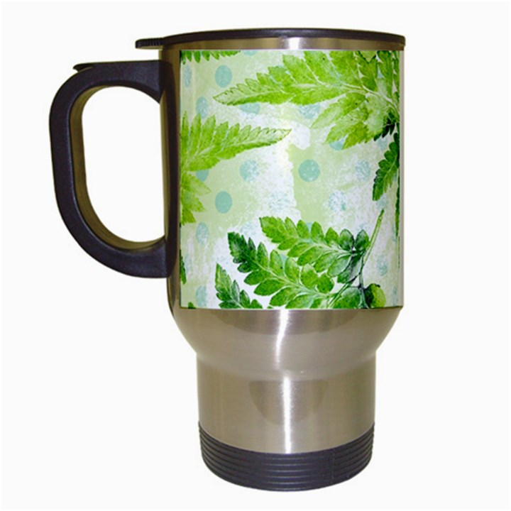 Fern Leaves Travel Mugs (White)