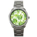 Fern Leaves Sport Metal Watch Front