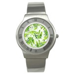 Fern Leaves Stainless Steel Watch Front
