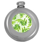 Fern Leaves Round Hip Flask (5 oz) Front