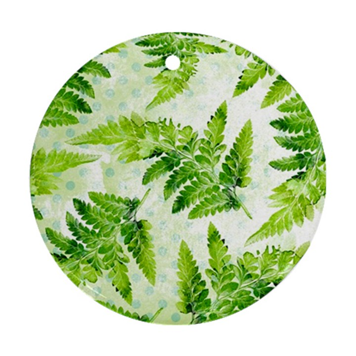 Fern Leaves Round Ornament (Two Sides)