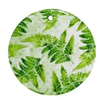 Fern Leaves Round Ornament (Two Sides)  Back