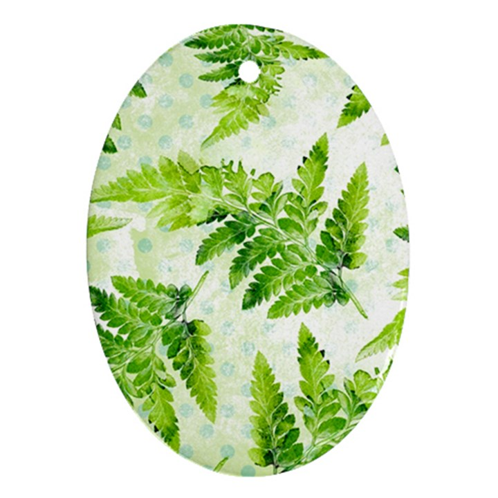Fern Leaves Oval Ornament (Two Sides)