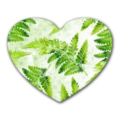 Fern Leaves Heart Mousepads